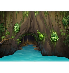 A cave and water vector image