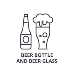 beer bottle and beer glass line icon outline sign vector image vector image