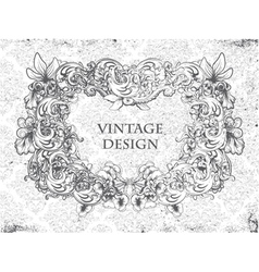 grunge damask background with floral frame vector image