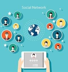 Social Network Concept Flat Design for Web vector image vector image