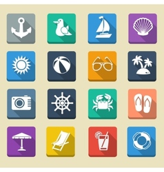 Summer Sea Vacation Icons vector image vector image