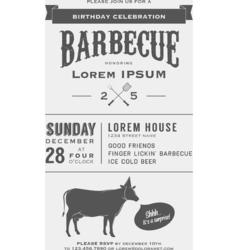 Vintage birthday party barbecue invitation vector image vector image