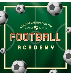 Football academy soccer ball on the field vector image