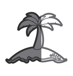 gray thick contour of island with palm tree vector image vector image