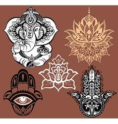 Set of Yoga elements vector image