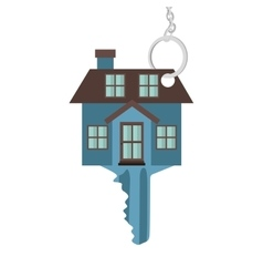 silhouette key blue color with shape house vector image
