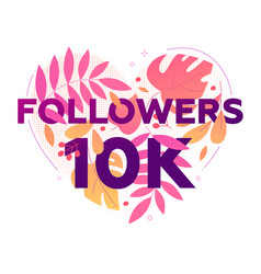 10 000 followers banner - modern flat design style vector