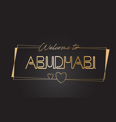 Abudhabi welcome to golden text neon lettering vector