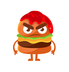 angry burger with ketchup cute cartoon fast food vector image