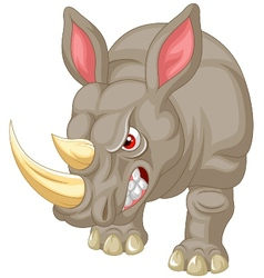 Angry rhino cartoon character vector