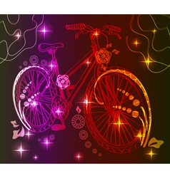 Background with bike over dark vector image