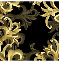 Black background with gold frame vector