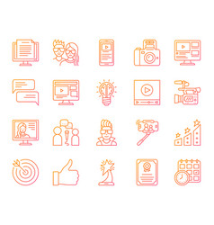 blogging online simple color line icons set vector image