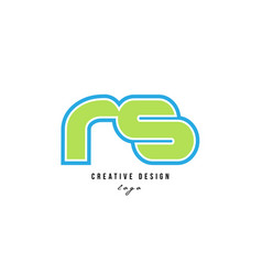 blue green alphabet letter rs r s logo icon design vector image