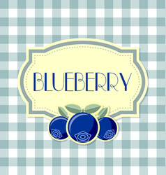 Blueberry label on squared background vector