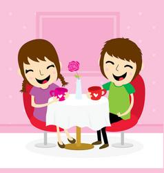 Boy and girl sweetheart meeting at shop cute carto vector