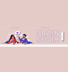brainstorm web banner business people think idea vector image