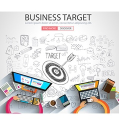 Business Targe Concept with Doodle design style vector image