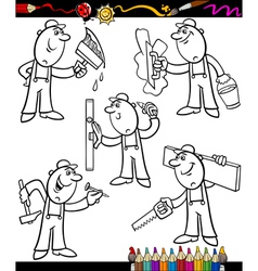 Cartoon workers set for coloring book vector