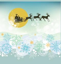 christmas eve scene santa claus sleigh silhouette vector image