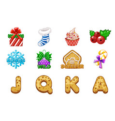 christmas icons for slots complete icons vector image