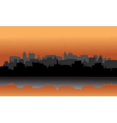 City silhouette reflection of lake vector image