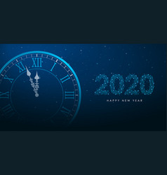 clock and 2020 number polygonal wireframe vector image