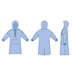 Color fashion technical sketch long smock in vector