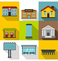 Construction of city icons set flat style vector