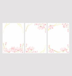 cosmos watercolor with golden frame for wedding vector image