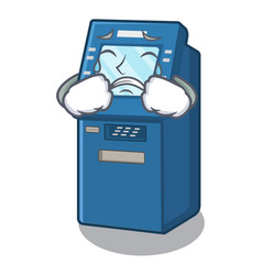 crying atm machine next to character table vector image