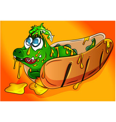 cute crocodile cub in a hot dog vector image