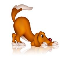 Cute dog cartoon posing vector