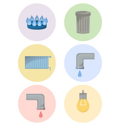 different types of utilities facilities icon set vector image