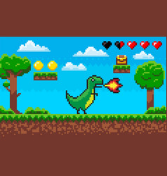 dinosaur with flames pixelated character vector image