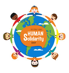 Diverse people around world for solidarity day vector