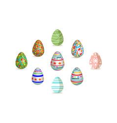 easter egg set pattern paint color vector image