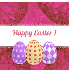 Easter pink background card with ornament eggs vector image