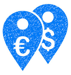 Euro and dollar map markers grunge icon vector