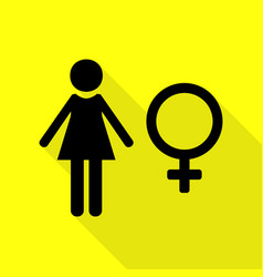 female sign black icon with flat vector image
