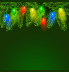 fir background with christmas illumination vector image