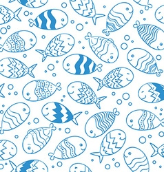 Fish doodle seamless pattern vector