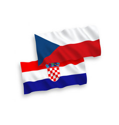 Flags czech republic and croatia on a white vector