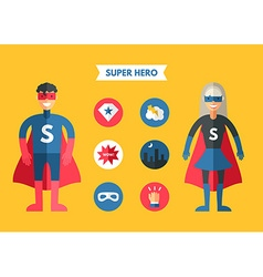 Flat Design of Super Hero with Icon Set vector