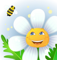 Flower and bee vector image