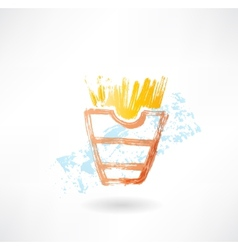 French fries grunge icon vector image