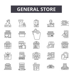 General store line icons signs set vector