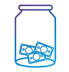 Glass jar with bills money vector