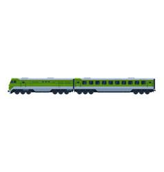 green suburban passenger train railroad vector image