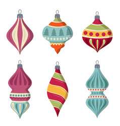 hand drawn flat christmas balls collection vector image